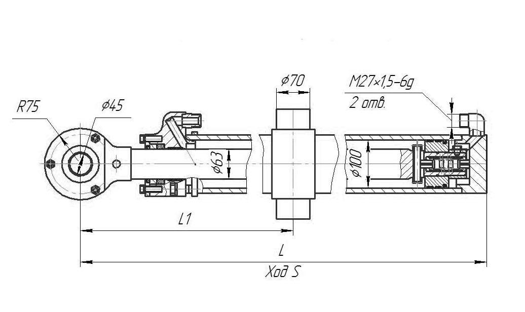Гидроцилиндр подъёма отвала (левый) для бульдозера Б11 и Б12