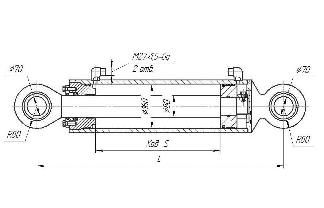 Гидроцилиндр подъема рыхлителя для бульдозера Т-170, Б10, Б12