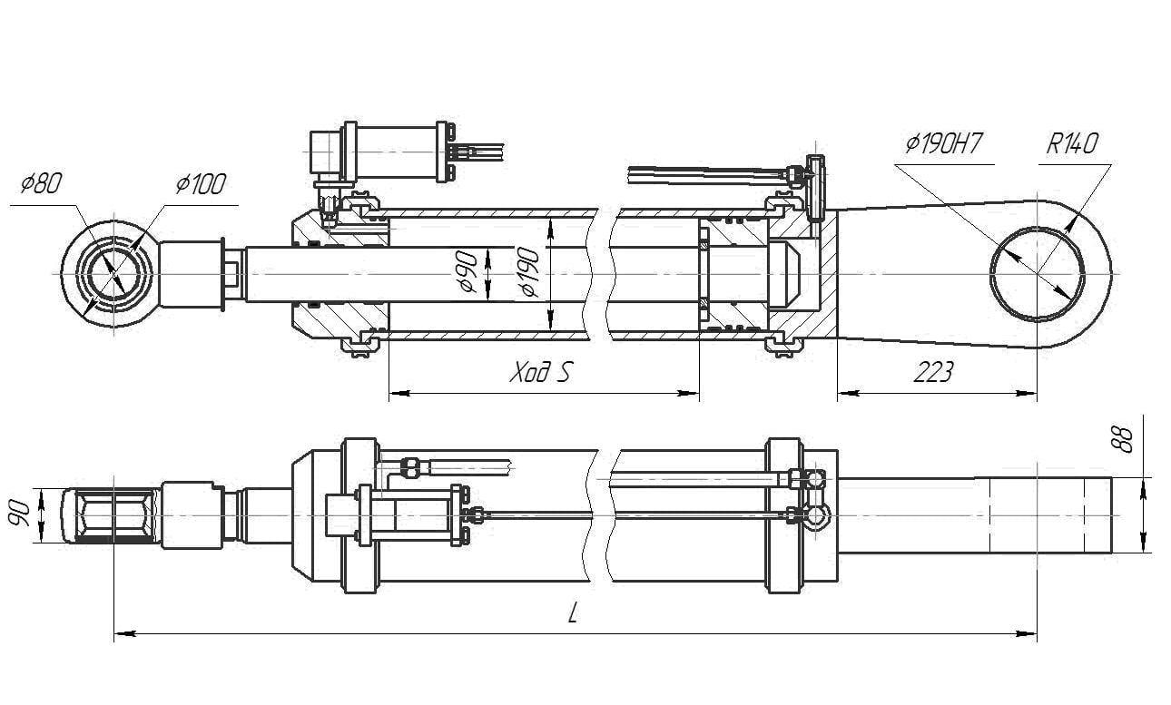 Гидроцилиндр подъёма стрелы