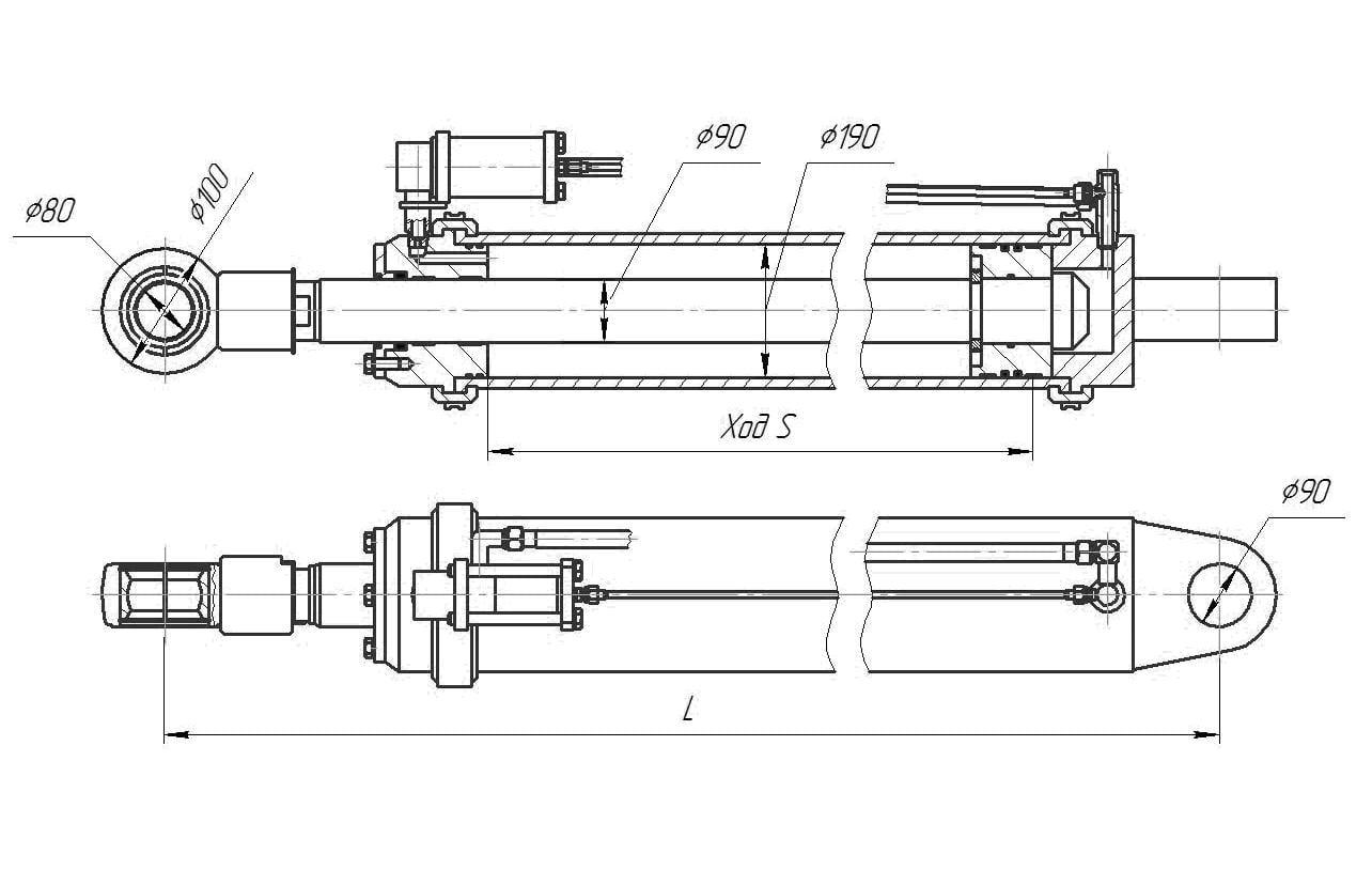 Гидроцилиндр подъёма стрелы (модификация)